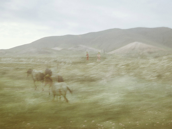 Margaret with the Horses, from the series, Enter the Great Wide Open. © Aislinn Leggett.