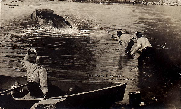 "William H. Martin. ""The Bass I Caught,"" Silver Print postcard, 3.5 x 5.5 inches, 1909."