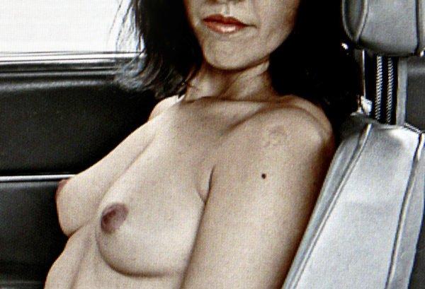 Nude on passenger seat