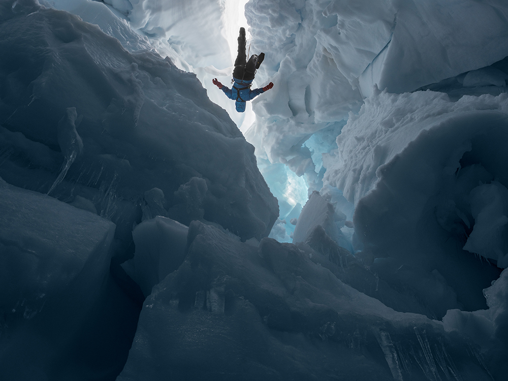 Kenzie inside a Melting Glacier, Juneau Icefield Research Program, Alaska 2016. © Lucas Foglia and courtesy Fredericks & Freiser Gallery, New York.