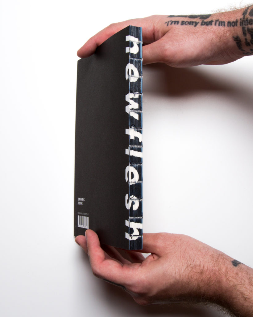 Spine of n e w f l e s h (Gnomic Book, 2019). Courtesy of Gnomic Book and Efrem Zelony-Mindell